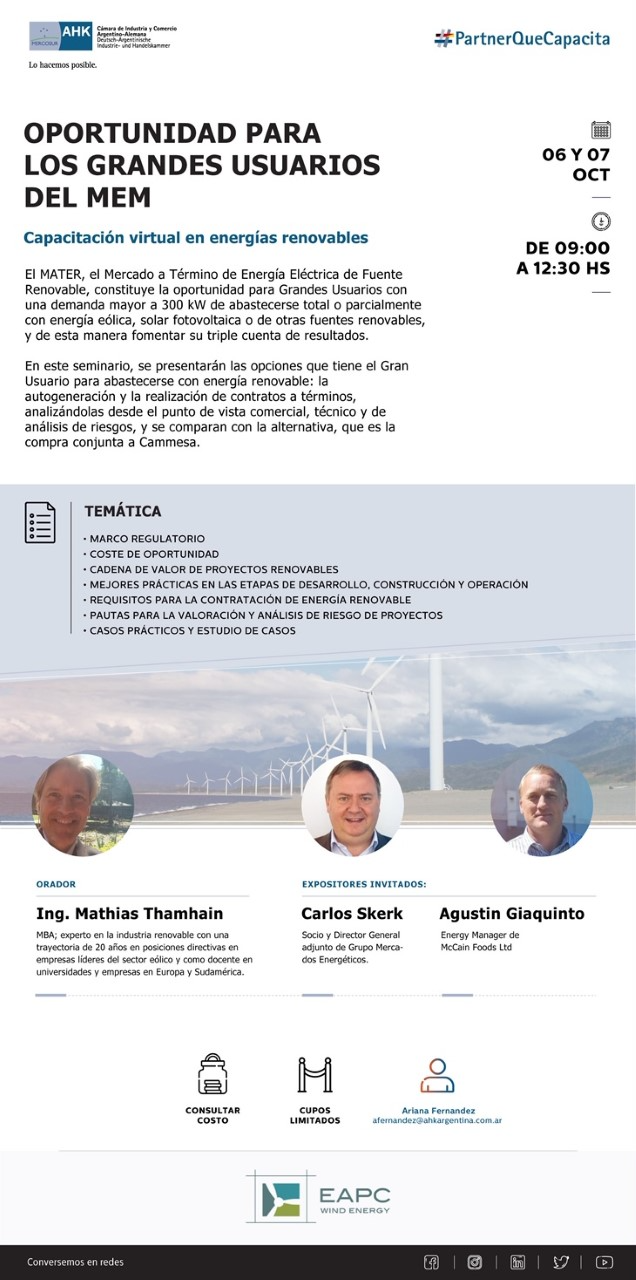 "AULA GLOBAL | Charla Virtual, Capacitación Virtual para los grandes usuarios del MEM, ""Capacitación Virtual en Energías Renovables"